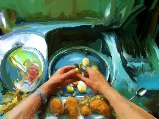 Peeling potatoes by Victor Lunn-Rockliffe